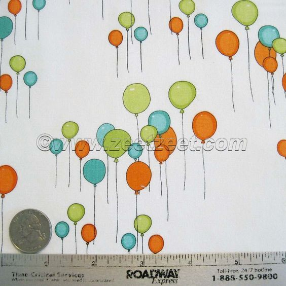 Just for Fun BALLOONS Green, Blue, Orange Balloons on White - Cotton Quilt Fabric - by the Yard - http://bit.ly/16r5uel