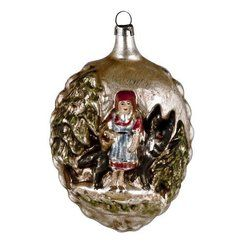 photo MAROLIN Décoration en verre patiné pour sapin de Noël représentant le petit chaperon rouge et un loup