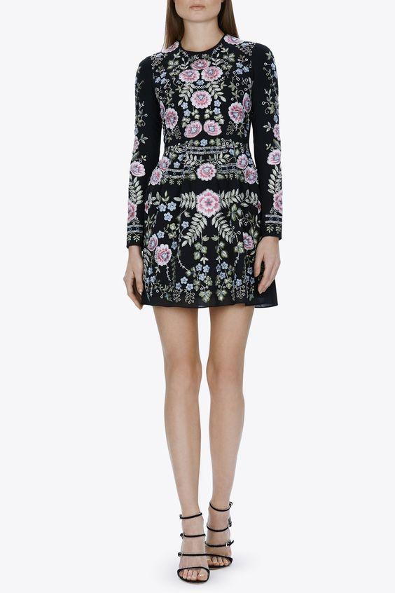 Needle & Thread Black Spring Embroidery Dress