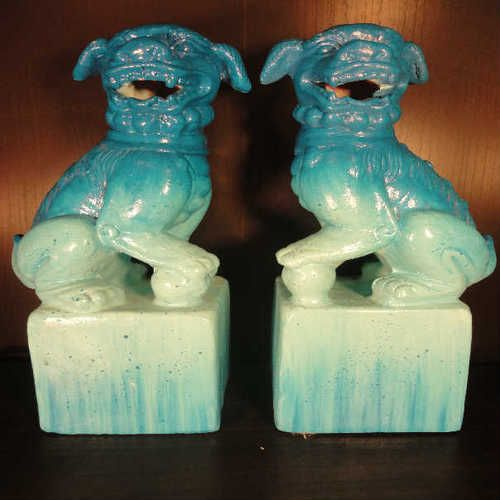 "Pier 1 Import Ombre Turquoise Blue 12"" Ceramic Foo Dog Bookends"