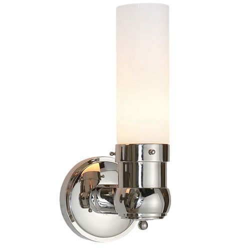 Modern and elegant, our Graydon Single Bath Sconce features a white glass tube shade.   * Available in Bronze, Polished Nickel and Antique Brass * Solid brass and glass * For indoor use * Keyless socket * Imported
