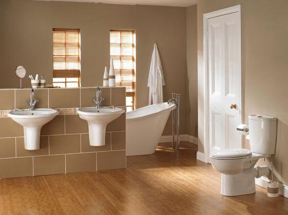 Hardwood Floors With Double Wall Mounted Sinks