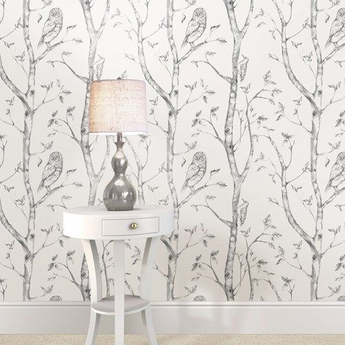 Gray Woods Peel And Stick Wallpaper Brewster Nuwallpaper 49 99 Trees Owls Forest Woodpeckers Wood Wallpaper Grey And White Wallpaper Nuwallpaper