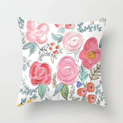 Watercolor+Floral+Print+Throw+Pillow+by+Jenna+Kutcher+-+$20.00: