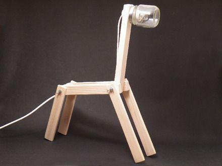 Lampe esprit récup. Tête réalisée avec un pot en verre (type pot de bébé).  - environ 30 cm de long / 40 cm de haut - corps articulé en pin naturel  - longueur du fil 1 - 7133921