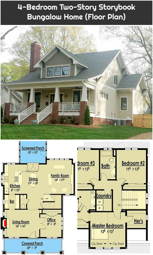 4 Bedroom Two Story Storybook Bungalow Home Floor Plan House Floor Plans Floor Plans Bungalow House Plans
