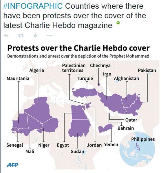 Un point sur les manifestations à travers le monde visant la dernière couverture de CH. A noter que l'AFP considère la Tchétchénie comme un pays à part entière...