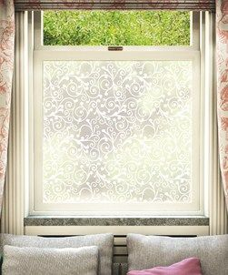 Frosted glass overlay, alternative to net curtains in bedroom