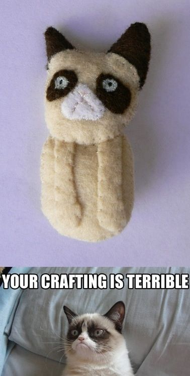 Stuffed Grumpy Cat Doll. I want this blown up and hanging in my craft space