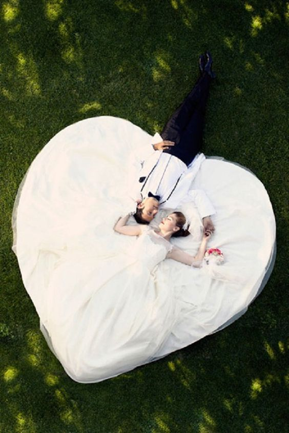 An aerial view of the wedding dress in all its glory.