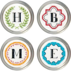 General Crafts > Jar Crafts > Set Of 4 - Monogram Jar Topper Counted Cross Stitch Kit: A Cherry On Top