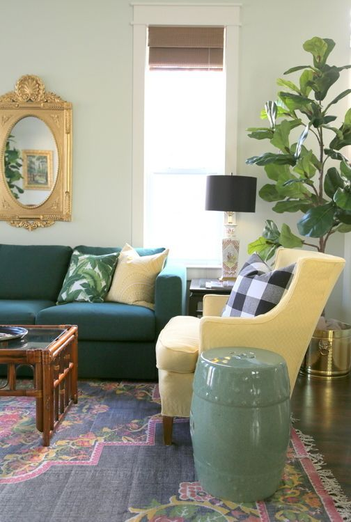 Why Matching Colors In The Home Isn T As Simple As You May Think The Decorologist Green Sofa Shabby Chic Table And Chairs Yellow Chair #non #matching #sofas #in #living #room