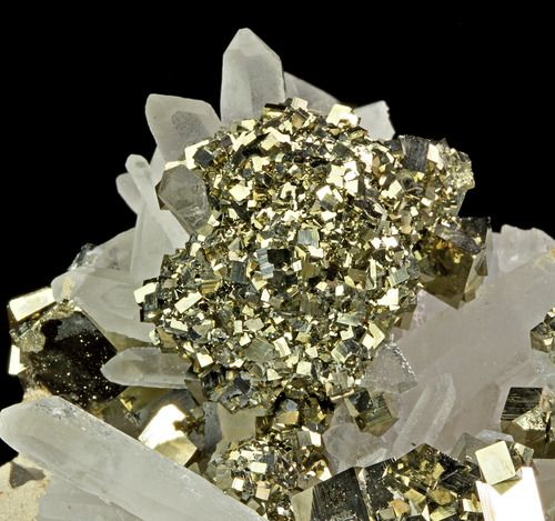 Pyrite after Chalcopyrite with Quartz; Fengjiashan Mine, Hubei Province, China