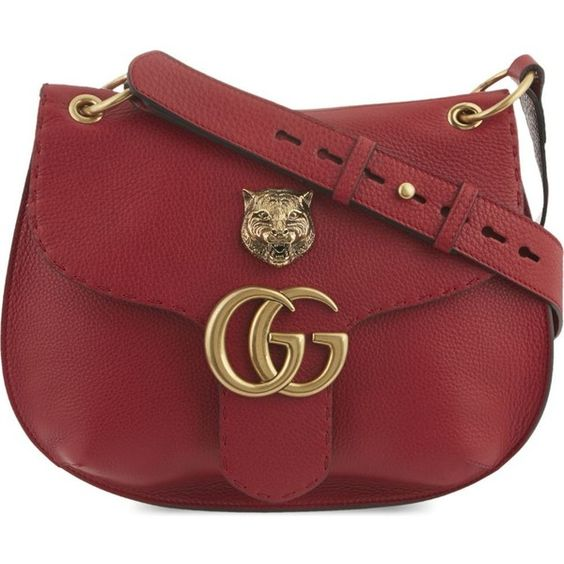 GUCCI Marmont feline leather shoulder bag (4 075 BGN) ❤ liked on Polyvore featuring bags, handbags, shoulder bags, vulcanic red, leather flap purse, gucci shoulder bag, gucci purses, red shoulder bag and leather purse