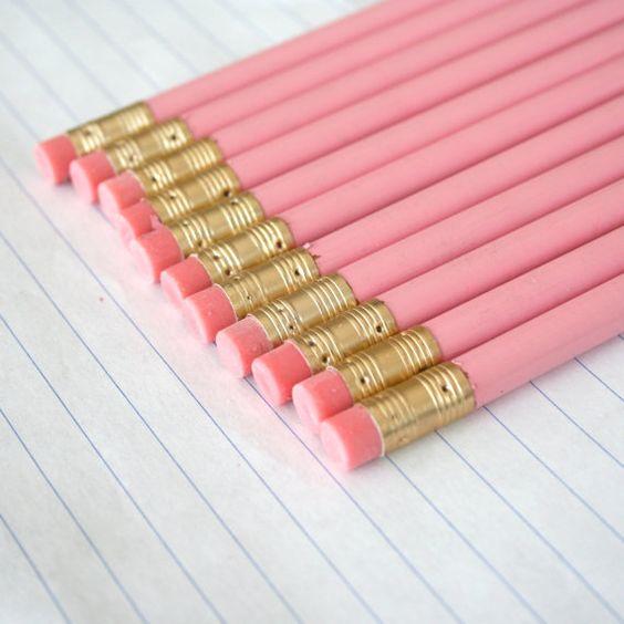 Adiós Adiós lápices 12 lápices de color rosa pasteles imperfectos. suministros de regreso a la escuela: