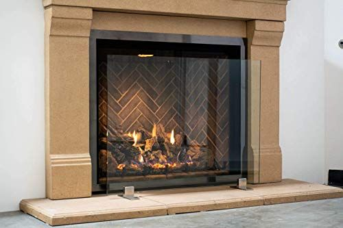 Best Seller Modern Free Standing Glass Fireplace Screen Clear Stainless Steel Feet Large 46 X 33 Online Newtopgoods Glass Fireplace Screen Glass Fireplace Fireplace Screens