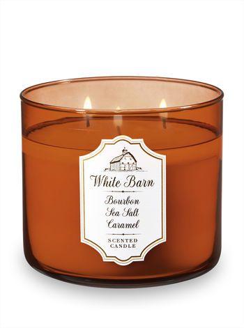 Bourbon Sea Salt Caramel 3 Wick Candle Bath And Body Works Bath Candles Bath Body Works Candles White Barn Candle