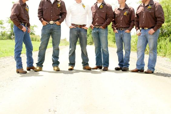 Wedding. Country Wedding. Groomsmen. Groom. Dirt Road. Brown Shirts. Jeans. Boots. Wedding Photos. Wedding Photography. Wedding Party. Rustic. Brown and Turquoise. Turquoise. Groomsmen Poses.