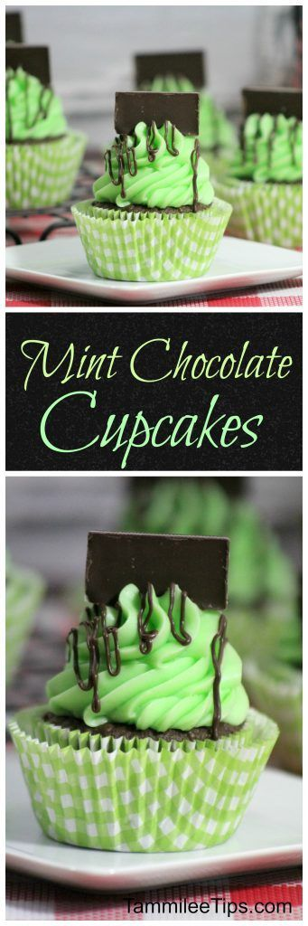 Delicious Andes Mint Chocolate Cupcakes recipe via Tammilee Tips! super easy dessert recipe the entire family will love! Perfect for St. Patrick's day or any day of the year! #easystpatricksdaydesserts #stpatricksday #stpatricksdayparty #stpatricksdaypartyfood #lucky #luckygreen #luckytreats #shamrocks #clovers #rainbowtreats