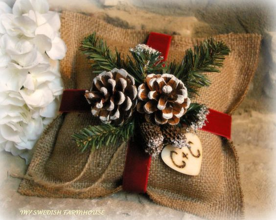 Burlap Ring Bearer Pillow Rustic Christmas by MinSvenskaLandgard
