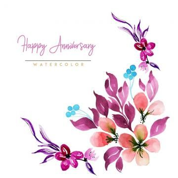 Watercolor Floral Happy Anniversary Background Watercolor Color Floral Png And Vector With Transparent Background For Free Download Happy Anniversary Floral Watercolor Happy Birthday Frame