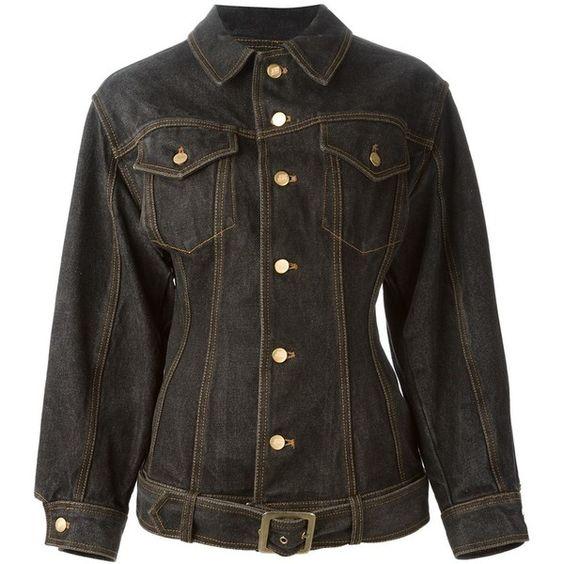 Jean Paul Gaultier Vintage Junior Gaultier Fitted Jacket (5.775 NOK) ❤ liked on Polyvore featuring outerwear, jackets, black, vintage black jacket, cotton jacket, black collar jacket, collar jacket and long sleeve jacket