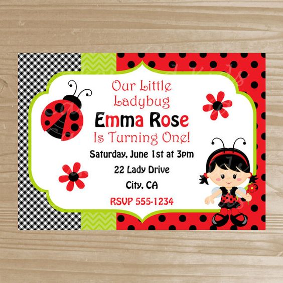Ladybug Invitation - Printable Ladybug Invitation - Ladybug Birthday Invitation - Digital File on Etsy, $11.17 CAD