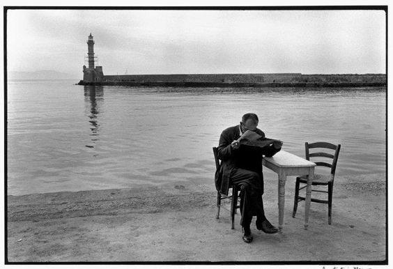 """Constantine Manos/Magnum Photos  GREECE. 1967. Crete. Chania. Man reading newspaper. """"A Greek Portfolio"""""""