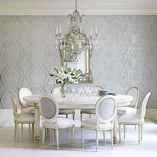 Wonderful Wall Coverings in a traditional style formal dining room with silvery grey decor. Beautiful Classically Refined Rooms on Hello Lovely Studio.