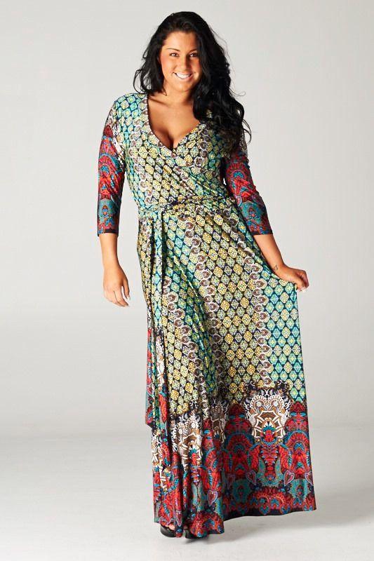 Details about BOHEMIAN Multicolor/Red Jersey MAXI DRESS Wrap ...