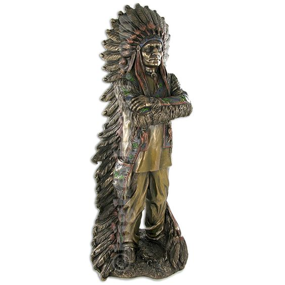Proud Chief Native American Figurine true vision of the Native American Indian's character.