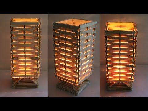 How To Make Night Lamp At Home Diy Handmade Lamp Raj Easy Craft Youtube Craft Stick Crafts Make A Lamp Handmade Lamps
