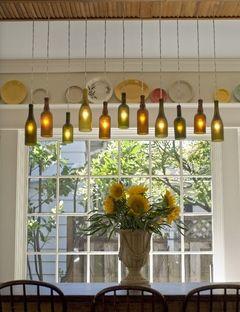 DIY wine-bottle chandelier!!! Love this!