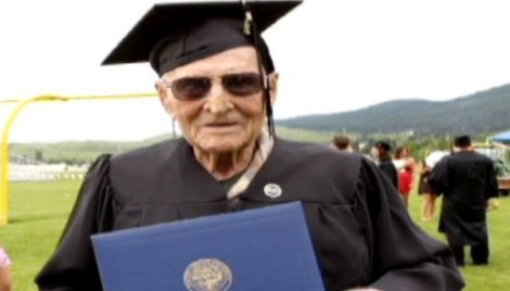 Leo Plass, from Oregon, gets his college degree at 99 years old.