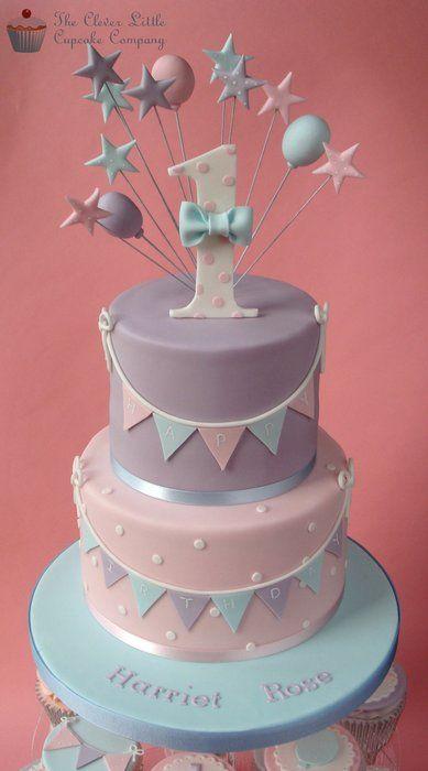 Pastel First Birthday Cake - by CleverLittleCupcake @ CakesDecor.com - cake decorating website