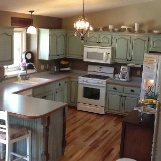 My DIY kitchen cabinet makeover! I used Benjamin Moore paint in ...