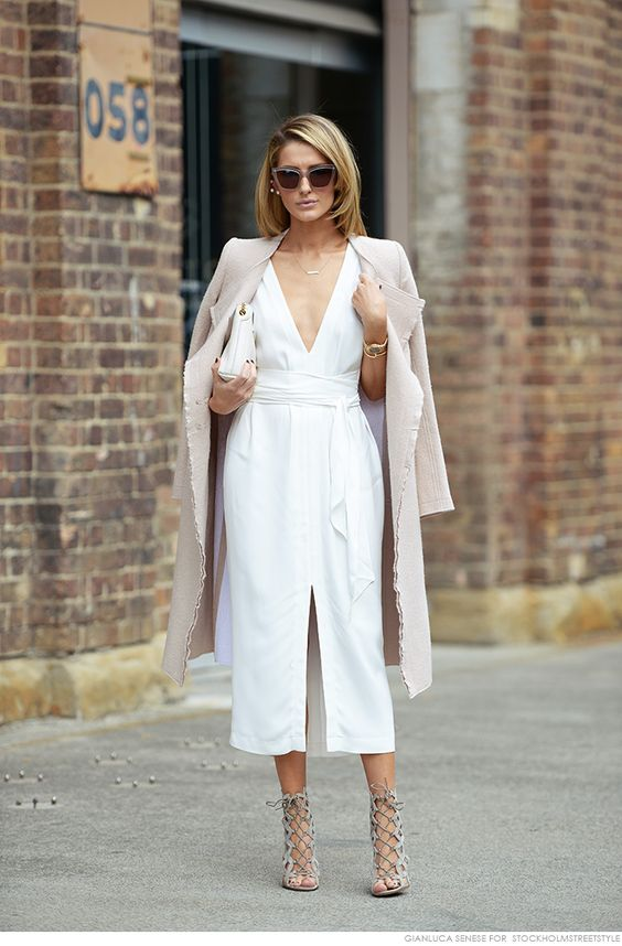 White dress and pale pink trench coat... The perfect statement shoe really makes the look