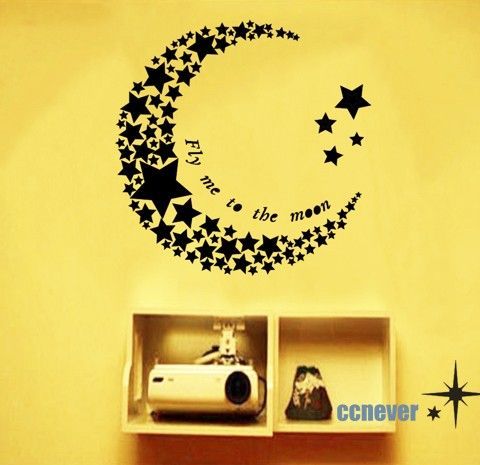Home Decor Decals home decor decals home decor decals set Home Decor Fly Me To The Moon Stars Art Graphic Vinyl Wall Decals Stickers