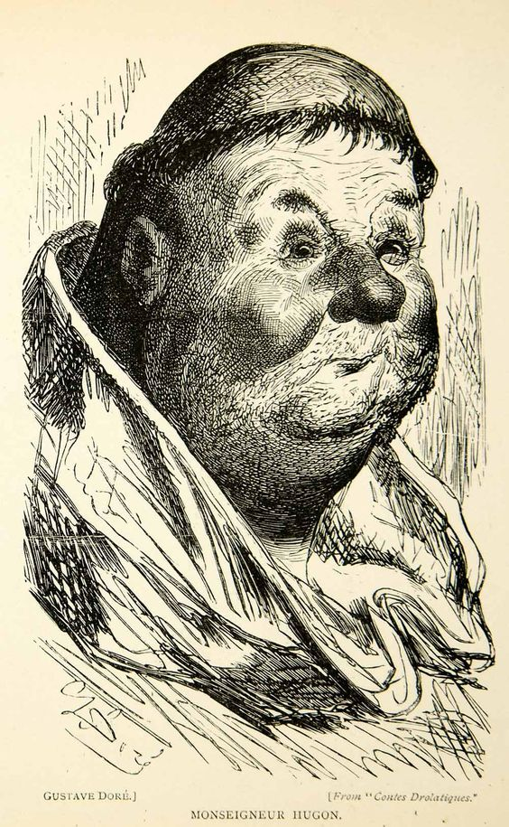 1893 Wood Engraving Gustave Dore Caricature Art Monseigneur Hugon Portrait XDH8 - Period Paper