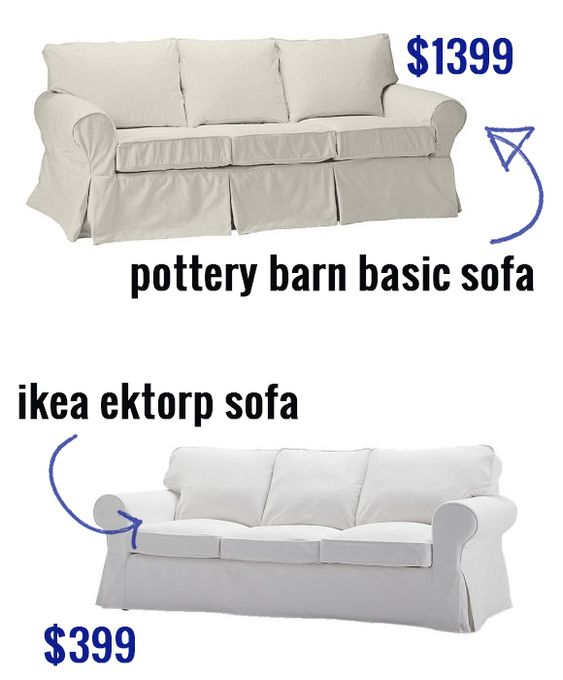 ikea ektorp sofa versus pottery barn basic sofa buy a. Black Bedroom Furniture Sets. Home Design Ideas