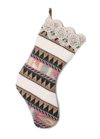 Judith March Aztec Jacquard Christmas Stocking (Black Multi) – DejaVu