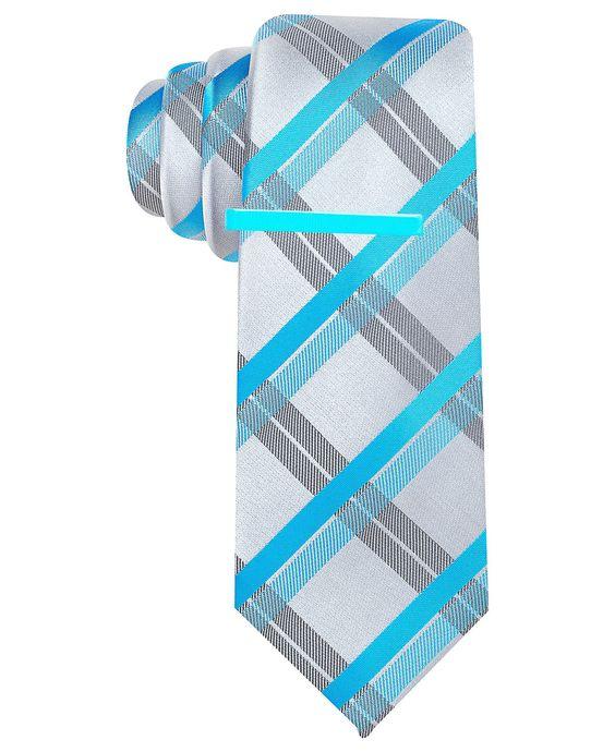 alfani tie captain plaid with tie bar ties