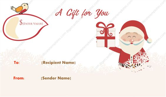 Merry Santa Christmas Gift Certificate Template  Gift Certificate