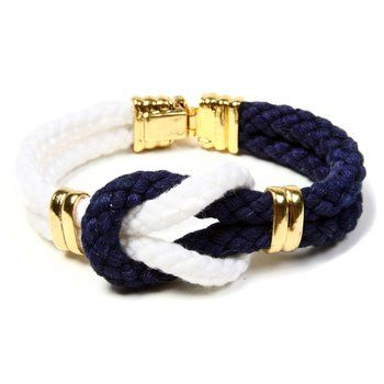 Nautical Knot Bracelet. This nautical themed bracelet connects two contrasting ropes with a Gordian knot, the symbol of friendship. $105.00