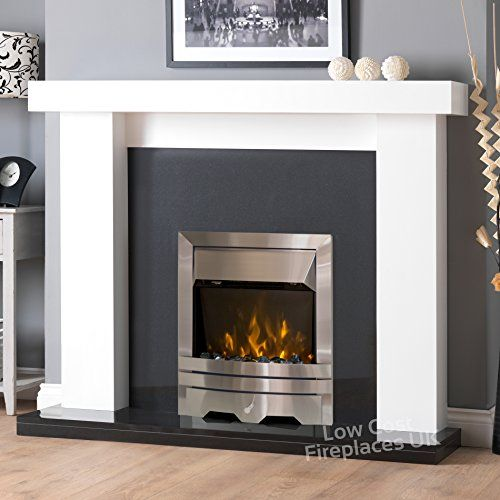 Electric White Surround Downlights Black Granite Marble Silver Led Fire Chunky Fireplace Big Suite La White Fireplace White Fireplace Surround Fireplace Suites