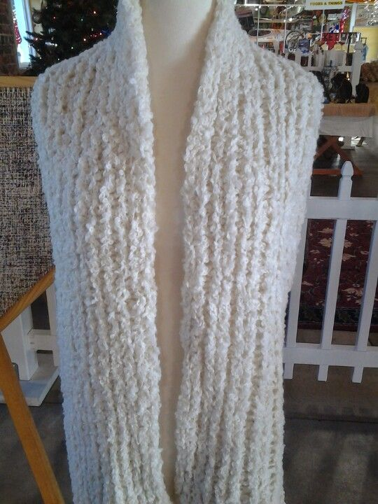 Winter white alpaca boucle scarf.  See at www.hsalpaca.weebly.com
