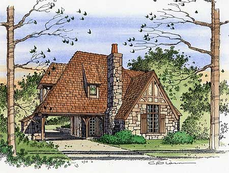 Tiny R tic Cottage House Plan   Plan W PR  Cottage  Tudor    Tiny R tic Cottage House Plan   Plan W PR  Cottage  Tudor  European House Plans