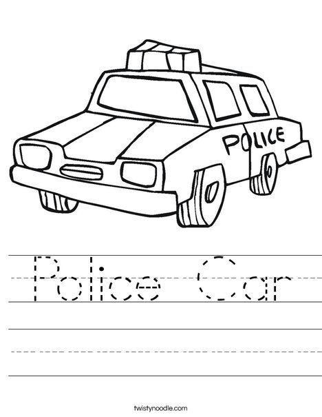 Car Coloring Pages For Kindergarten : Police car worksheet twisty noodle children s dot to