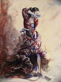 Danseuse de flamenco aquarelle 30x42 cm danseuse - Danseuse orientale dessin ...
