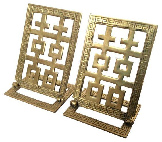 Brass Greek Key Bookends